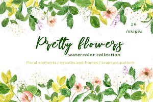 Pretty Flowers - Watercolor ClipArt