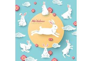 Mid autumn rabbits on blue