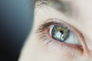Male eye, close-up. Healthy vision.