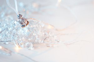 Transparent glass ball. Christmas