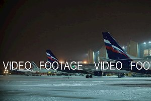 Timelapse of night flights service at Sheremetyevo Airport in Moscow, Russia