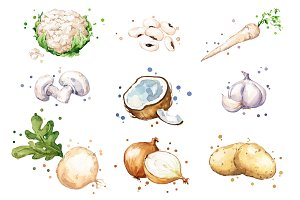 Set of white foods, watercolor