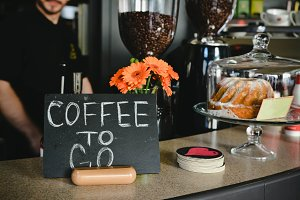 Coffe to go sign in cafe