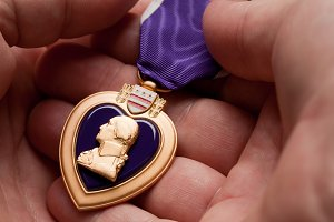 Man Holding Purple Heart War Medal
