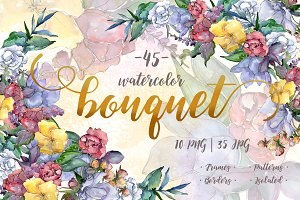 Watercolor bouquet PNG flower set
