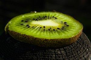 Fresh slice of a kiwi