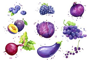 Set of purple foods, watercolor
