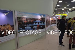 Visitors at Prague photo exhibition in Sheremetyevo Airport, Moscow