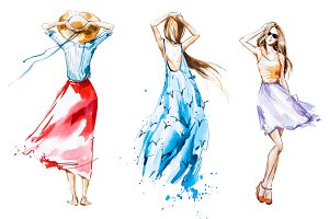 Fashion illustration, watercolor