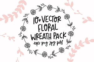 Hand-Drawn Vector Floral Wreath Pack