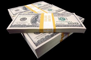 Hundred Dollar Bills On A Black Background