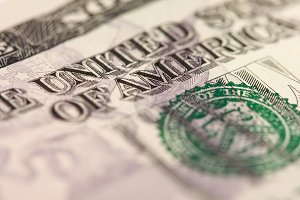 Abstract Macro of U.S. Five Dollar Bill with Narrow Depth of Field.