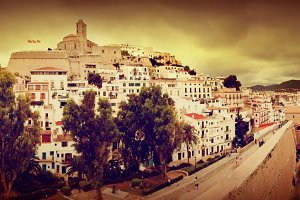 Panorama of old city of Ibiza