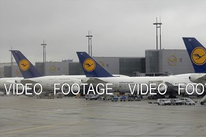 Lufthansa aircrafts at Frankfurt Airport, Germany