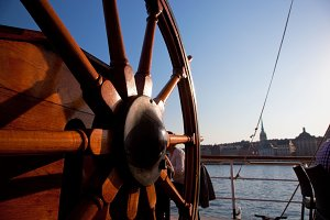 Old, wooden ship helm