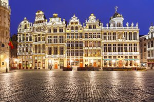 Grand Place Square at night in Belgium, Brussels