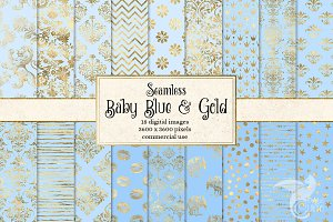 Baby Blue and Gold Digital Paper