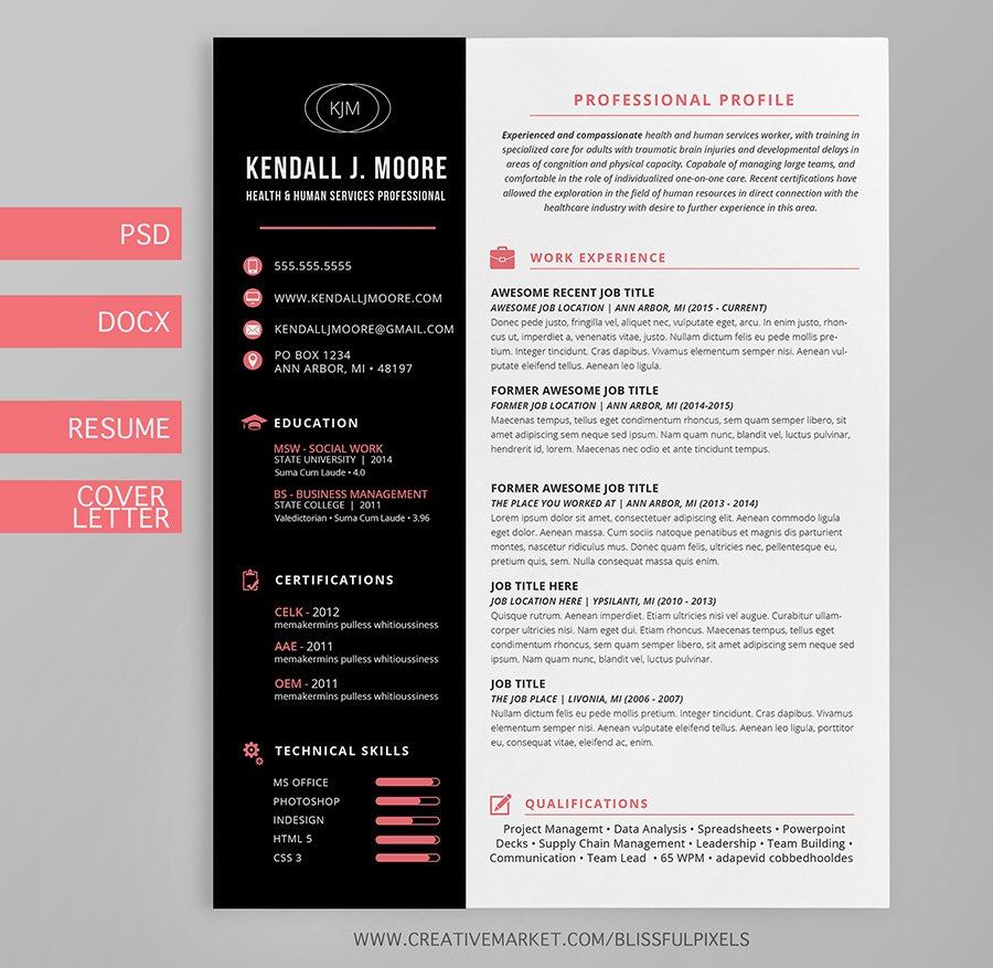 Resume Cover Letter Template Suite Resume Templates Creative