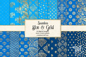 Blue and Gold Digital Paper