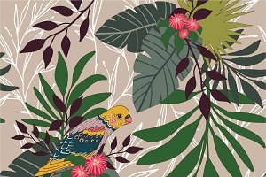 parrot in leaves seamless pattern
