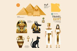 Egypt Flat Icons Design Travel.