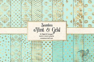 Mint and Gold Digital Paper