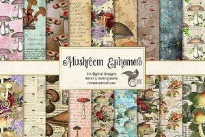Mushroom Ephemera Digital Paper