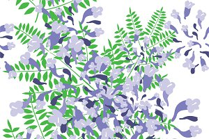Jacaranda flower seamless pattern