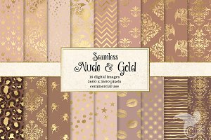 Nude and Gold Digital Paper