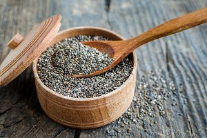 Healthy Chia seeds in a wooden bowl