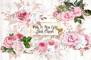Pink and Rose Gold Floral Clipart