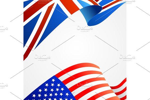 3d Flag Background Card. Vector