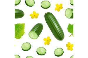 Cucumber and Slices Pattern
