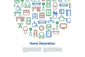 Home Decoration Concept Card. Vector