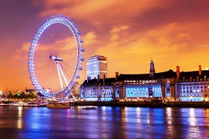 London Eye at the evening, England