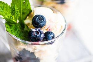 Summer dessert icecream with berries