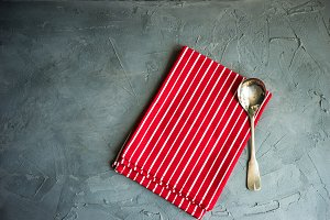 Rustic table setting in red and grey