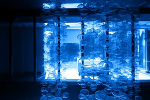 Futuristic bubbles in office interior backdrop