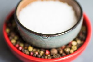 Spice concept - sea salt and pepper