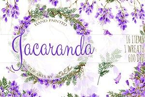 Jacaranda Watercolor Clip Art