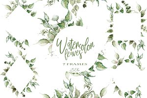 Watercolor Leaves Frames Clip Art