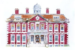 Colonial palace illustration