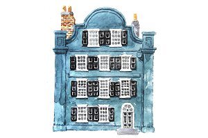 Watercolor dutch building