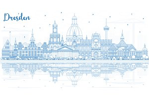 Outline Dresden Germany City Skyline