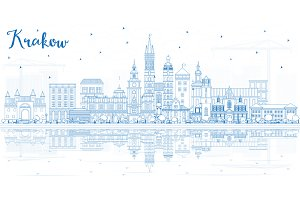 Outline Krakow Poland City Skyline