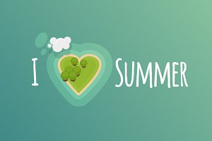 Island illustration: I love summer
