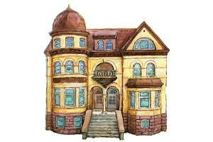 Watercolor victorian house