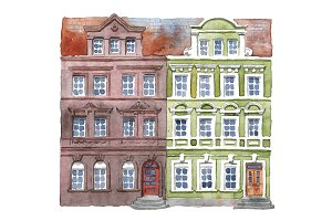 Watercolor Germany houses