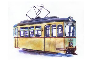 Watercolor tram