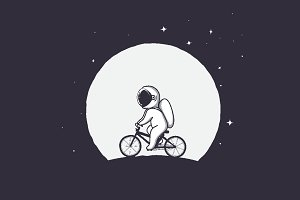 astronaut rides on bicycle
